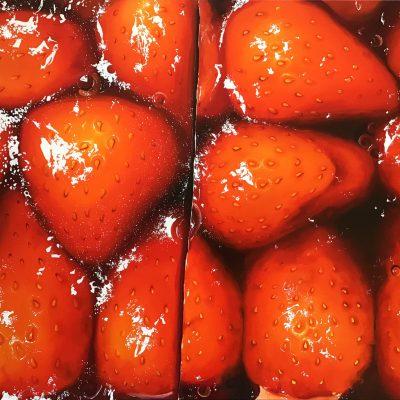 Erdbeerschnitte II / Öl auf Leinwand / 60 x 90 cm / 2020 / verkauft