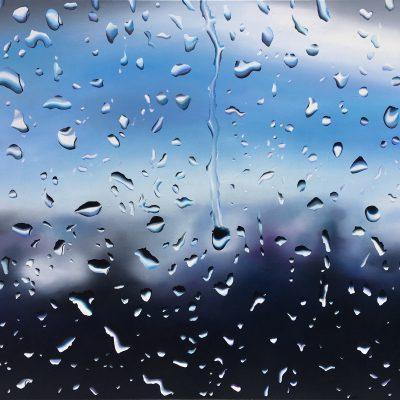Regen, klar-blau / Öl auf Leinwand / 100 x 120 cm / 2019