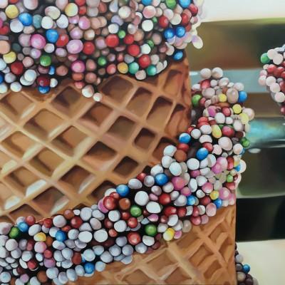 Waffelperlen / Öl auf Leinwand / 130 x 180 cm / 2018