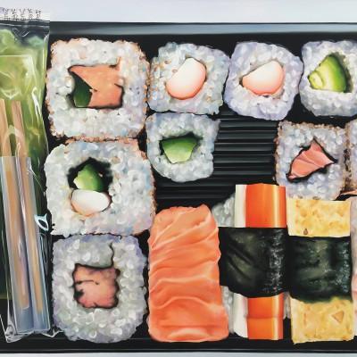 Sushi-Box / Öl auf Leinwand / 100 x 140 cm / 2017