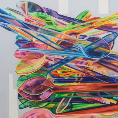 Löffel auf Grau / Öl auf Leinwand / 120 x 160 cm / 2017 / verkauft